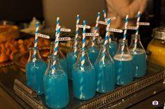 Chá do Matheus  Chá de Bebê Chá de Menino Garrafinhas de Vidro com Suco azul de Limão