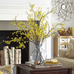 We think that we shall never see a poem as lovely as our artificial forsythia branch. Dining Room Table Decor, Deco Table, Living Room Decor, Spring Home Decor, Fall Decor, Summer Mantle Decor, Faux Flowers, Yellow Flowers, Yellow Flower Arrangements