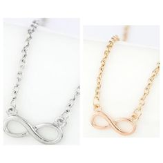 """Gold and silver infinity necklace Gold and silver infinity necklaces. Brand new with tags. Clasp closure. Chain measures 10"""" on shortest setting (not including pendant). Pendant is just under 1"""" long. PLEASE do not purchase this listing. Price is firm unless bundled. No trades.                 AVAILABILITY- GOLD: 5 •• SILVER: 5 Boutique Jewelry Necklaces"""