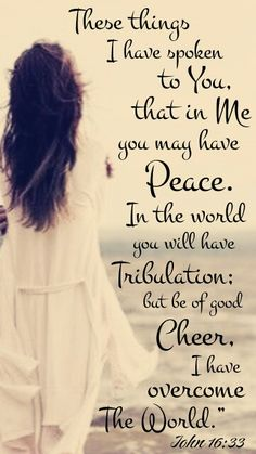 """I have said these things to you, that in me you may have peace. In the world you will have tribulation. But take heart; I have overcome the world."""" (John 16:33 ESV)"""