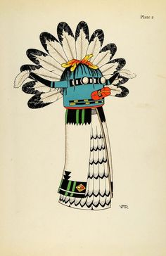1941 Lithograph Pueblo Indian. Kochina Doll, Sio Shalako, Hopi by Virginia More Roediger (via periodpaper).