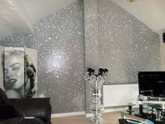 A sample of our stunning textured chunky glitter fabric wall-covering. SAMPLE Glitter Wallpaper - PREMIUM Fabric Backed. Unlike sub-standard replicas, our glitter is not only chunky but thick and textured. Glitter Bedroom, Glitter Paint For Walls, Glitter Wallpaper Bedroom, Silver Glitter Wallpaper, Sparkle Paint, Gold Bedroom, Glitter Paint Designs, Silver Paint Walls, Sparkly Bedroom