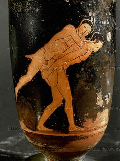 Tarquinia Vasepainter (5th BCE) Ephedrismos-game. Red-figured lekythos in the style of the Painter of Tarquinia, Italy (second quarter 5th BCE). Height 17 cm CA 1988 Louvre, Departement des Antiquites Grecques/Romaines, Paris, France