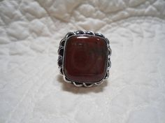 Size 8 Red Jasper Sterling Silver Stamped 925 Overlay Ring Boho Hippie Sundance Style Artisan Ethnic Style Jewelry by LandofBridget