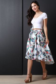 Watercolor Floral A-Line High-Low Skirt – Style Lavish