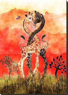 Giraffe Love - Mounted Print