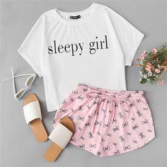 Two Piece Set Sleepwear Top and Drawstring Shorts Pajama Sets