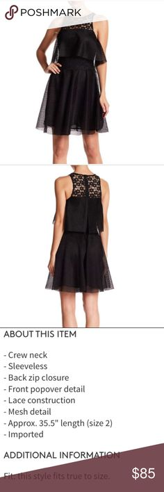 """Betsey Johnson Black Lace Front Popover Dress Betsey Johnson Black Lace Front Popover Dress, Size 8      - Crew neck     - Sleeveless     - Back zip closure     - Front popover detail     - Lace construction     - Mesh detail     - Approx. 35.5"""" length (size 2)     - Imported Fiber Content     100% polyester Care     Dry clean Betsey Johnson Dresses Mini"""