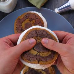 - Brookie Swirl Whoopie Pies Treat yourself with your two favorite desserts-in-one! Baking Recipes, Cookie Recipes, Dessert Recipes, Just Desserts, Delicious Desserts, Yummy Food, Think Food, Love Food, Yummy Treats
