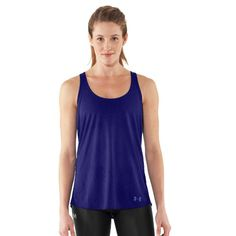 Soft & super lightweight fabric keeps you comfortable in & out of the gym. Lightweight, 4-way stretch fabrication improves range of motion & dries faster. Signature Moisture Transport System wicks sweat to keep you cool, dry & light. Permanently knotted T-back style eliminates the bulk of extra fabric. Shaped hem for extra coverage & a more feminine silhouette. Unique animal print burnout pattern looks cool as it keeps you cool. UA logo at hem shows your preference for performance.