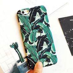 Fashion Cartoon Banana Leaves Case For iphone 5S Case For iphone 5 5S 6 6S Plus Hard Frosted Ultra Thin Leaf Phone Cases Cover