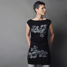 Tunic T shirt Dress  Abstract Leaf Motif  Black T by sealmaiden