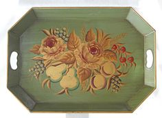 "Vintage Painted Tole Tray Flowers Fruit Green Gold Steel Regency Cherries 16x22"" #hollywoodregency #unmarked"