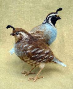 Needle felted California Quail, pair of miniature birds made by Ainigmati
