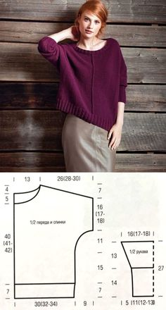 Knitted Sweater for Women pullunder, Sweater Knitting Patterns, Dress Sewing Patterns, Loom Knitting, Knitting Designs, Knitting Sweaters, Free Knitting Patterns For Women, Crochet Patterns, Pattern Sewing, Coat Patterns