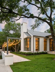 Steel doors + steel windows + white shutters= perfection in this home designed by built by interiors… Bungalow, Metal Building Homes, Building A House, Barn House Plans, Modern Farmhouse Exterior, Dream House Exterior, House Goals, Home Fashion, Exterior Design