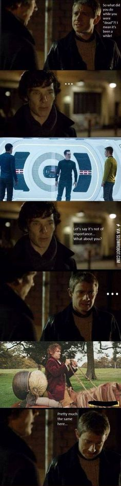 i love how sherlock became all futuristic and cool and john just turned into a confused hobnob riding a horse