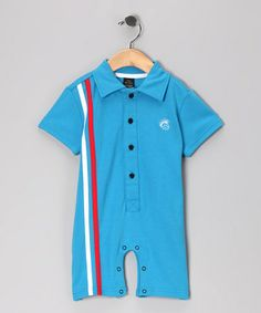 Take a look at this Blue Retro Stripe Polo Romper - Infant by Knuckleheads on #zulily today!