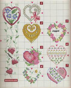 قلوب بالايتامين - hearts x-stitch pattern ~ شغل ابره NEEDLE CRAFTS