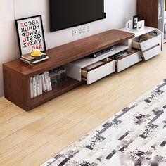 Tv Unit Furniture Design, Tv Furniture, Living Room Furniture, Hooker Furniture, Tv Stand Bookshelf, Tv Stand Console, Walnut Tv Stand, Black Tv Stand, Living Room Tv Unit Designs