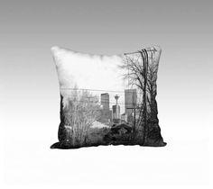 Erlton Streeet Calgary - Black & White Velveteen Cushion Pillow Case - Made in Canada - by KarenMakes on Etsy by KarenMakes1 on Etsy