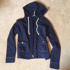 LOFT zip up hoodie ⚓️ LOFT zip up hoodie. Has a nautical feel to it. Navy in color, size small. In excellent condition. Please make any offers through the offer button or bundle for a discount  sorry no trades LOFT Tops Sweatshirts & Hoodies