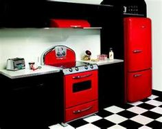 red and black kitchen!  Don't know why i like this but i do