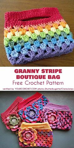 Crochet bags purses 646336983998043149 - Rainbow Granny Stripe Boutique Bag Free Crochet Pattern Source by jouanneaudpatricia Crochet Diy, Crochet Gifts, Crochet Ideas, Crochet Bag Tutorials, Free Crochet Bag, Sewing Tutorials, Crochet Handbags, Crochet Purses, Point Granny Au Crochet