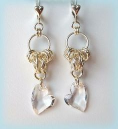 Earrings Chained Hearts by DancingRainbows for $25.00