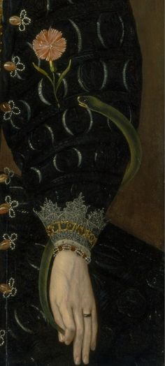 A Woman Called Lady Elizabeth Knightley (detail), 1591, by Marcus Gheeraerts the Younger (Flemish / English, 1562–1635)