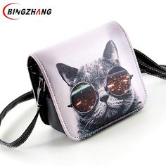 b905b3a13f45 Bolsa Bolsos Carteras Women PU Leather Cat Wearing Big Glasses Print Shoulder  Handbags 2017 Small Messenger Bag L4-1186
