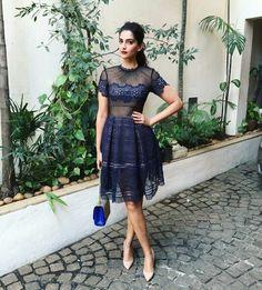 Sonam Kapoor wearing navy blue dress by Mr Self Portrait for her movie Neerja Promtions