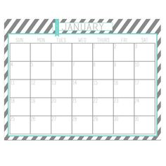 Ring In The New Year: 11 DIY 2015 Calendars: Teal And Grey Striped 2015 Calendar