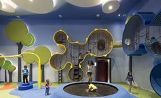 """Cinemaxx Junior, a colourful, kids-friendly integrated cinema with playground in Indonesia, has been awarded the """"Best Leisure or Entertainment Venue"""" accolade at FX International Design Awards Kids Indoor Playground, Playground Design, Children Playground, Kids Cafe, Kindergarten Design, Kids Play Area, Club Design, Library Design, Learning Spaces"""
