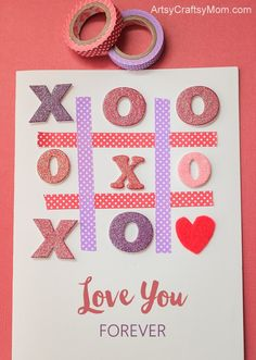 Treat your valentine to a unique handmade Tic-Tac-Toe XOXO Valentine Card with a message Love you forever to make them feel extra special and really loved Valentine Activities, Valentine Crafts For Kids, Valentine Ideas, Holiday Crafts, Craft Projects For Kids, Crafts For Kids To Make, Craft Ideas, Diy Ideas, Valentines Day Cards Handmade