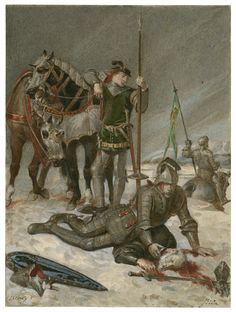 Alexandre Bida. Henry V, Act IV, scene 6: The Duke of York mourns the death of the Duke of Suffolk. Watercolor, 19th century. Folger Shakespeare Library.