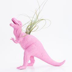 Dinosaur Planter with Air plant- Dorm Room Geekery Decoration, T Rex Dino. $20.00, via Etsy.