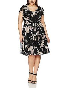 3ade24e1eb69 24 Black Dorothy Perkins Curve Womens Billie Peony Dress NEW