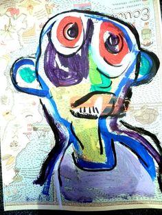 Akt Kopf Schädel Portrtait  Acryl auf Papier Pop Art Direkt vom Künstler