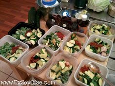 Meal prep: chicken, zucchini, green beans, brussel sprouts and salsa