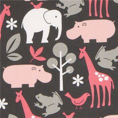 Michael Miller flannel fabric Zoology zoo animal grey  cute gray fabric with white, pink and gray animals from the USA