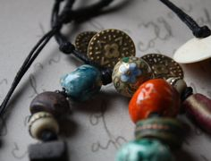 East of East--a Necklace with Artisanal Stoneware and Porcelain Beads