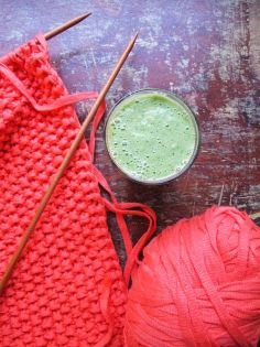 Drink your greens! Avocado, cucumber, coconut water and spinich in a smoothie.