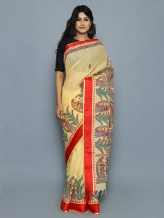 Yellow Red Hand Painted Madhubani Cotton Saree