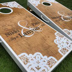 Lace Corners Custom Cornhole Board Set on Etsy, $230.00