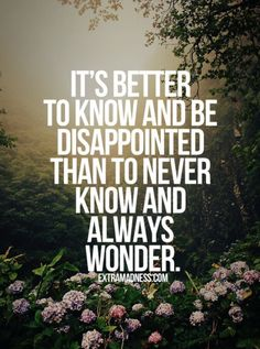 It's better to know