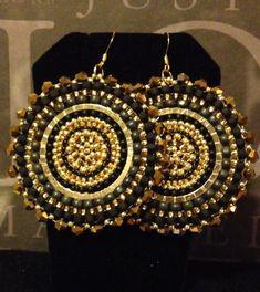 Black and Gold Crystal Goddess Seed Bead Earrings - Big Bold Disc Earrings - Beadwork Jewelry - Stat Big Earrings, Seed Bead Earrings, Seed Beads, Beaded Earrings, Beaded Jewelry, Beaded Shoes, Beaded Necklace Patterns, Statement Jewelry, Beautiful Earrings
