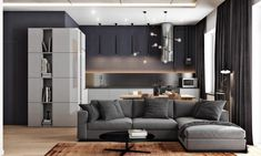 2+Masculine+Interiors+in+Shades+of+Grey+Black+And+Brown