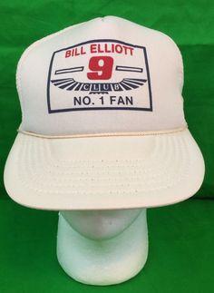 93f334e2179ca Vintage NASCAR Bill Elliott Fan Club  1 Fan Trucker Hat Collectible Gift