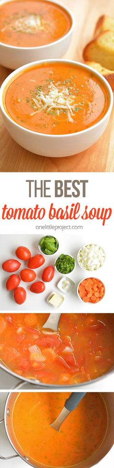 This tomato basil soup is one of my all time FAVOURITE soup recipes! It's easy to make and always tastes amazing! Serve it hot with fresh garlic bread and Mmmm. It's the perfect soup for a summer me (Soup And Sandwich Recipes) The Best Tomato Basil Soup Recipe, Whole 30 Tomato Soup, Panera Tomato Soup Recipe, Homemade Tomato Basil Soup, Tomato Recipe, Tomato Soup Recipes, Vegetarian Recipes, Cooking Recipes, Healthy Recipes